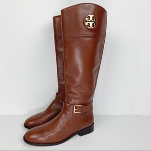 Tory Burch Adeline Leather Riding Boot Brown Sz8.5